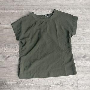 Drapey Banana Republic Olive Shirt w Crepe Texture